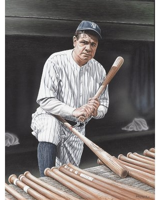 Babe Ruth on Deck Artwork by Darryl Vlasak Painting Print on Wrapped Canvas - buy art for less