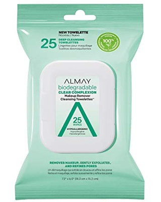 Makeup Remover Cleansing Towelettes Biodegradable Clear Complexion Wipes for Oily and Acne Prone Skin Hypoallergenic Cruelty Free Fragrance Free 25 Count - almay
