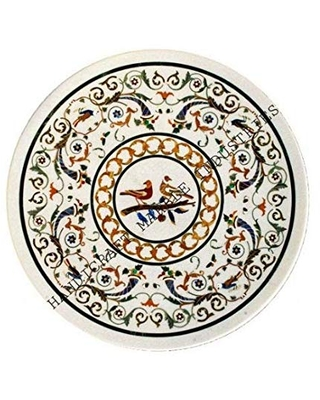 Marble Center Table ch With Bird Inlay Patio Dining Hallway Living Room Center Table Patio Table Side Table Piece Of Conversation - handicraft-marble-shop