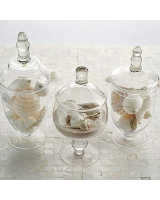 """Weddings Venue Shop Glass Apothecary Jars with Lids - 9""""/10""""/11"""" 