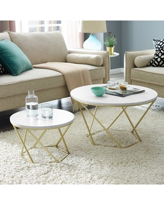 Eloise Geometric Nesting End Tables Faux Marble - ember interiors
