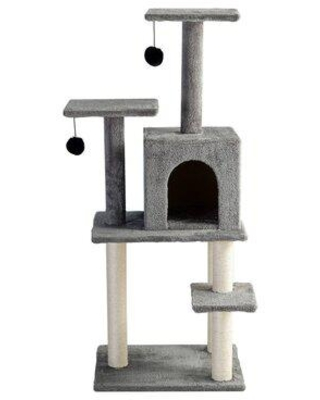 Tucker Murphy Pet™ 49Inch Cat Tree, Multi-Level Cat House Condo w/ Scratching Posts, Cat Tower in Gray/White, Size 49.0 H x 20.0 W x 16.0 D in