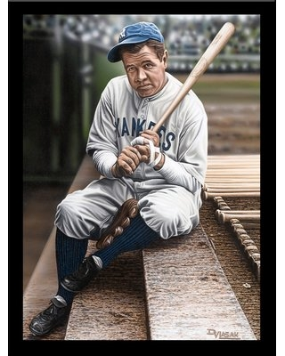 Babe Ruth Sitting on the Top Step of Dugout' Print Poster by Darryl Vlasak Framed Memorabilia - buy art for less