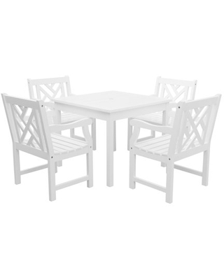 Bradley Outdoor 5 piece Wood Patio Stacking Table Dining Set - vifah