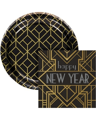 Art Deco New Year Snack Kit Serves 24 Guests - creative converting
