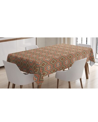 Ambesonne Colorful Tablecloth Culture Elements Style Old Fashioned Motif Pattern Rectangular Table Cover For Dining Room Kitchen Decor M - east urban home