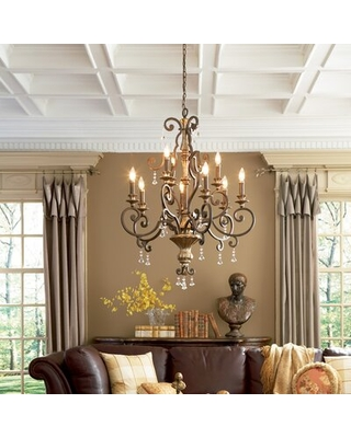 Nyah 9 Light Candle Style Classic Chandelier with Crystal Accents - willa arlo interiors
