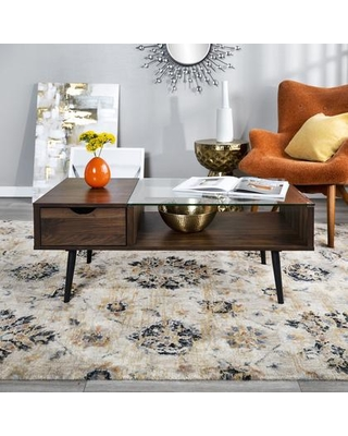 AF42JMGLDW Mid Century Modern Wood and Glass Coffee Table with Drawer and An Open Shelf in Dark - walker edison