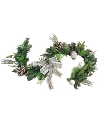 Bow and Pine Cone Artificial Christmas Garland Unlit - northlight