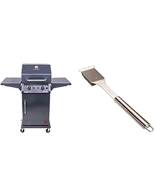 463655621 Performance TRU Infrared 2 Burner Cabinet Style Liquid Propane Gas Grill Metallic & Cuisinart Grill Cleaning Brush CCB 5014 Stainless Steel - char-broil