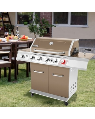 5 Burner Free Standing Liquid Propane Infrared 74000 BTU Gas Grill with Side Burner and Cabinet - royal gourmet