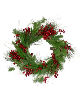 24 Inch Mixed Pine and Berry Artificial Christmas Wreath Unlit - northlight