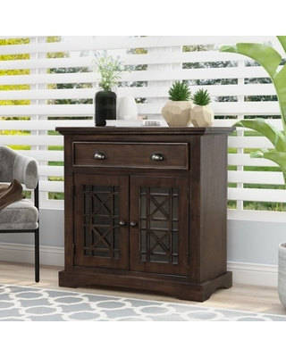Accent Storage Cabinet with Glass Doors and Drawer Entry Hallway Console Table Sideboard Chest Wood Glass Doors Cabinet Home Office Furniture Storage Chest Fully Assembled Espresso - anysun