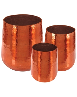 Contemporary Aluminum Dimpled Planters Copper - olivia & may