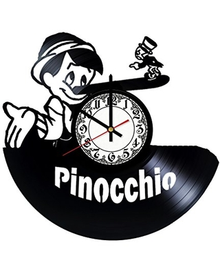 Pinocchio Handmade Vinyl Record Wall Clock Get unique room wall decor Gift ideas for his and her - Modern Unique Home Art Design - girls art boutique