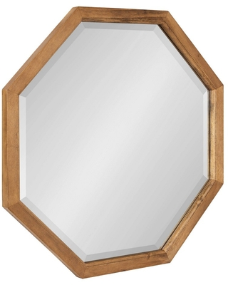 ogan Framed Octagon Decorative Wall Mirror Rustic - kate & laurel all things decor
