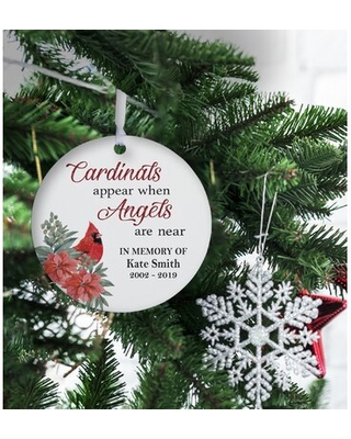 Cardinals Appear When Angels are Near Round Christmas Ball Ornament - the holiday aisle