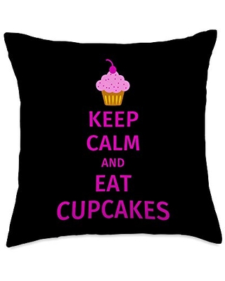Keep Calm and Eat Cupcakes Throw Pillow 18x18 - cupcake lover gifts