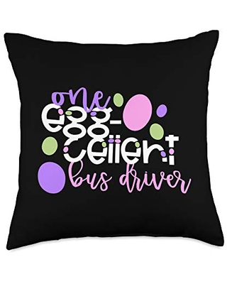 One Egg Cellent Bus Driver Easter School Team Throw Pillow 18x18 - one egg-cellent gifts ec