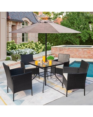5 Piece Patio Conversation Set Wicker Chairs Set with Tempered Glass Table - vineego
