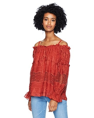 Women's Off The Shoulder Embroidered Peasant Top S - bcbgmaxazria