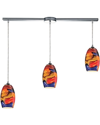 31339 3L Surrealist 3 Light Pendant with Hand Blown Glass Shade 36 by 9 Inch Polished Chrome Finish - elk