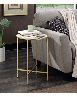 Coast Faux Marble Round End Table Faux Marble - convenience concepts
