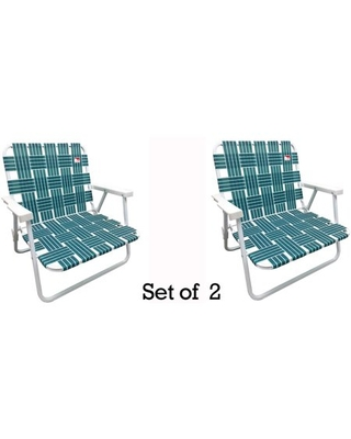 2 Pack Low Profile Reinforced Steel Powder Coated Webbed Folding Lawn Camp Beach Chair - outdoor spectator
