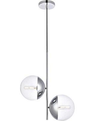 LD6119C Eclipse 2 Light 8 inch Chrome Pendant Ceiling Light With Clear - living district