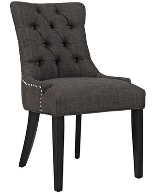 Regent Collection EEI 2223 BRN Dining Chair with Rubberwood Tapered Legs Nailhead Trim Non Marking Foot Caps Solid Wood Frame and Polyester - modway