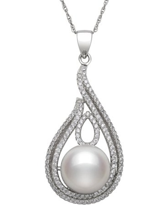 Cultured Freshwater Pearl and Cz Sterling Silver Teardrop Pendant - pearlzzz