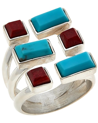 Sterling Coral and Turquoise Geometric Ring - mine finds by jay king