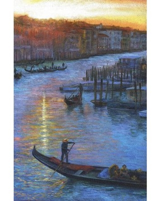 """""""Sunset Grand Canal"""" Painting Print on Wrapped Canvas - marmont hill"""