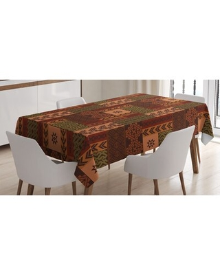 Ambesonne Geometric Tablecloth Style Geometric Folk Design Geometric Floral Motifs Print Rectangular Table Cover For Dining Room Kitchen Decor - east urban home