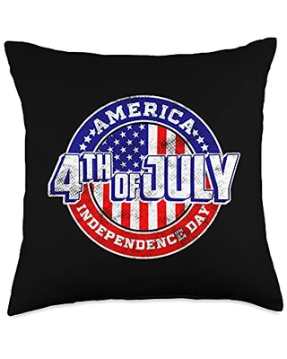 4th of July American flag USA Patriotic Pride Throw Pillow 18x18 - 4th of july pride