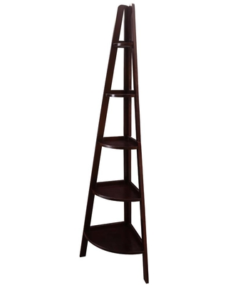 72 in Espresso New Wood 5 Shelf Ladder Bookcase with Open Back - casual home