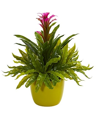 Bromeliad and Fern Artificial Vase Silk Plants - nearly natural