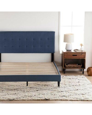Andover Mills™ Peters Tufted Upholstered Low Profile Platform Bed Metal in Blue/Black, Size 46.0 H x 56.0 W in | Wayfair