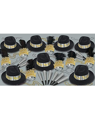 Beistle Platinum New Year Party Assortment for 50, Black/Silver/Gold
