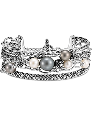 Sterling Silver Classic Chain Multi Strand Cultured Freshwater Pearl & Cultured Tahitian Pearl Bracelet - john hardy