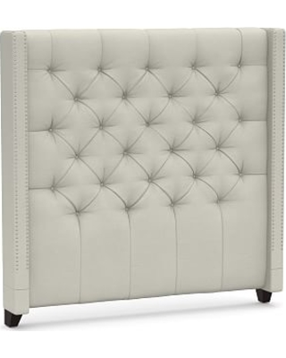Harper Upholstered Tufted Tall Headboard with Pewter Nailheads California King Premium Performance Basketweave Pebble - undefined