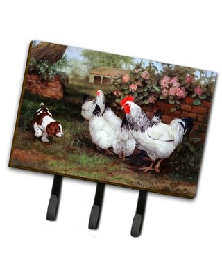 Isleton Chickens Hens and Puppy Wall Key Organizer with Key Hooks - east urban home