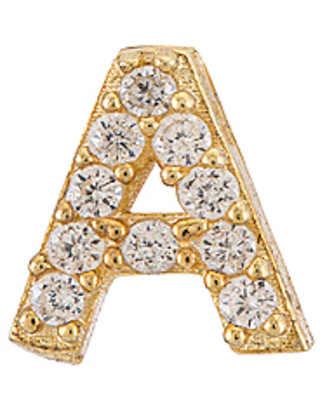 Pave Initial Stud Earring in Metallic also in D O V - adina's jewels