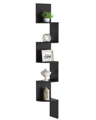 Floating Corner Shelf 5 Tier Wall Shelves with Hidden Brackets to Display Decor Books Photos More Hardware Included by - lavish home