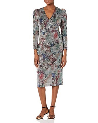 Women's Sequin Floral Sheath Puff Long Sleeve v Neck - maggy london