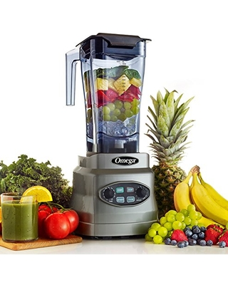 3HP Blender with BPA Free Container Creates Delicious Smoothies Features Stainless Steel Blades & 11 Speeds Includes Plunger & Recipe Book 1400 Watt - omega