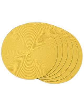 Classic Woven Tabletop Collection Indoor Outdoor Placemat Set Round iameter 6 Count - dii