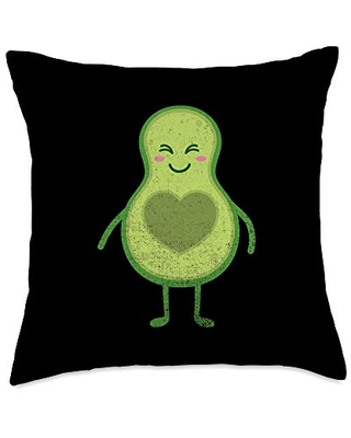 Avocado Heart Cute Fruit Match Couple His Hers Gift Throw Pillow 18x18 - boredkoalas matching couple his hers gifts pillows