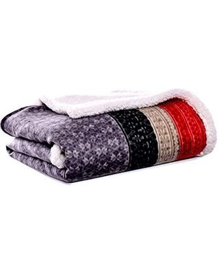 Home Brushed Collection Giftable Sherpa Fleece Reversible Throw Ultra Soft & Cozy Perfect for Bed or Couch - eddie bauer