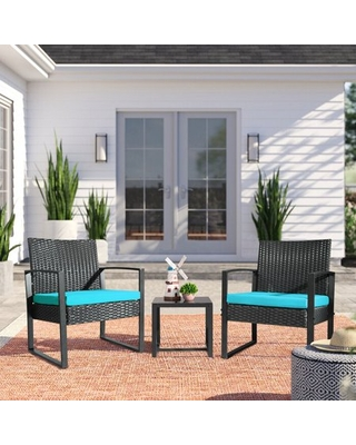 3 Pieces Bistros Sets Outdoor Wicker Patio Furniture Sets PE Rattan Chairs Conversation Sets with table - vineego